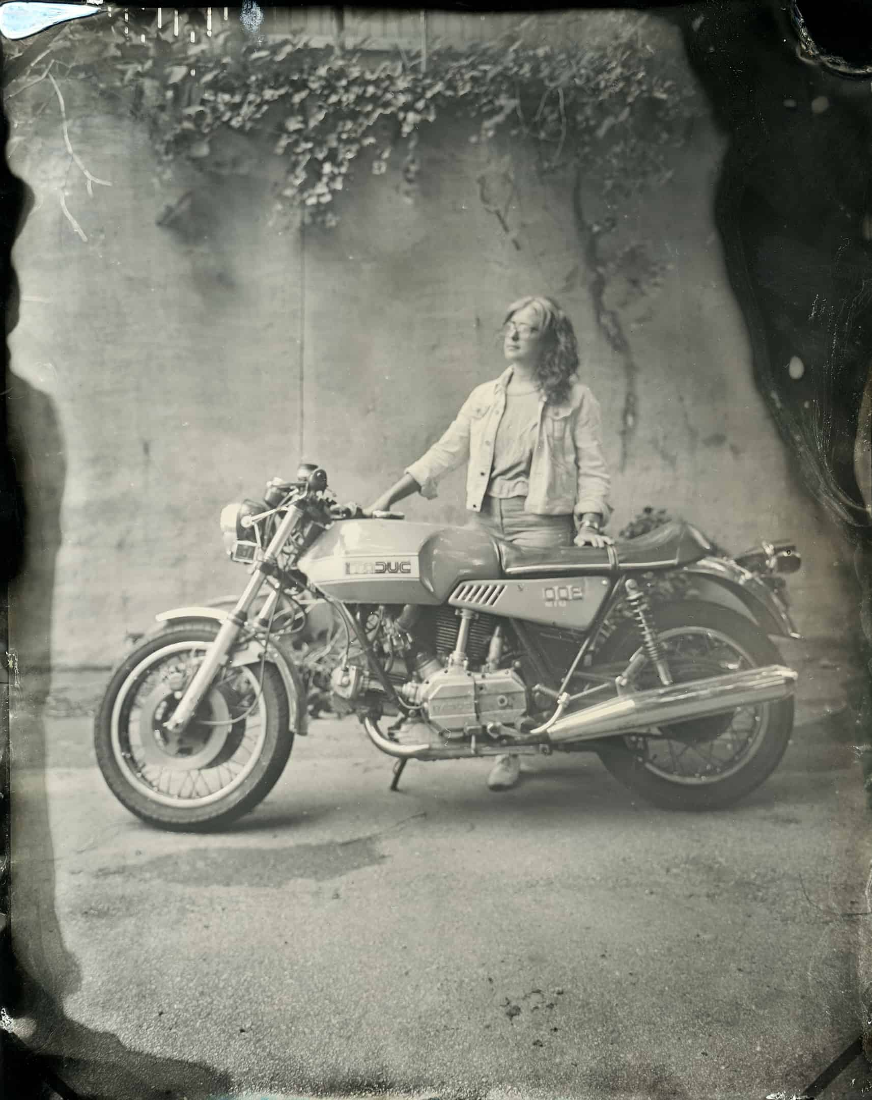 Tintype Portrait Ducati created in Atlanta, Georgia by Kate Lamb of Wild in Love Photo