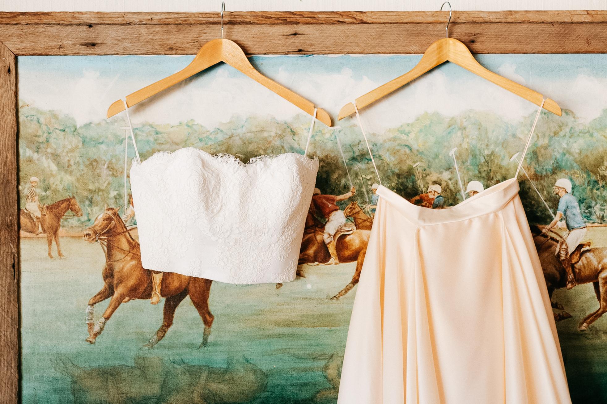 pink separates wedding dress
