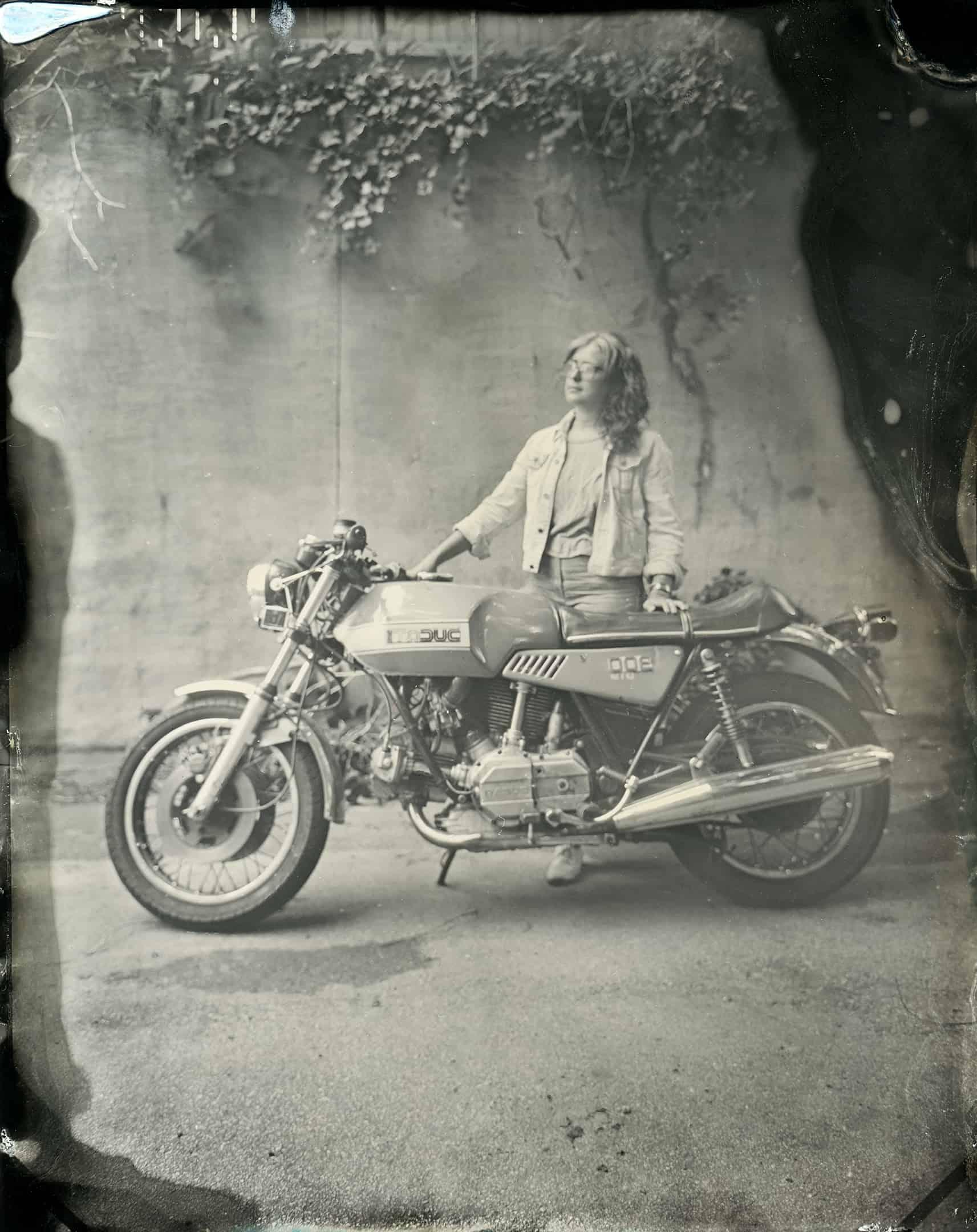 Tintype Portrait Ducati created in Atlanta, Georgia by Kate Lamb of Wild in Love Photo