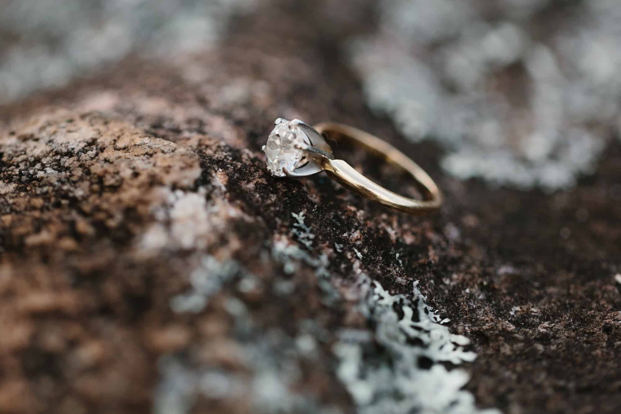 Engagement ring detail at Arabia Mountain by Kate Lamb of Wild in Love Photo