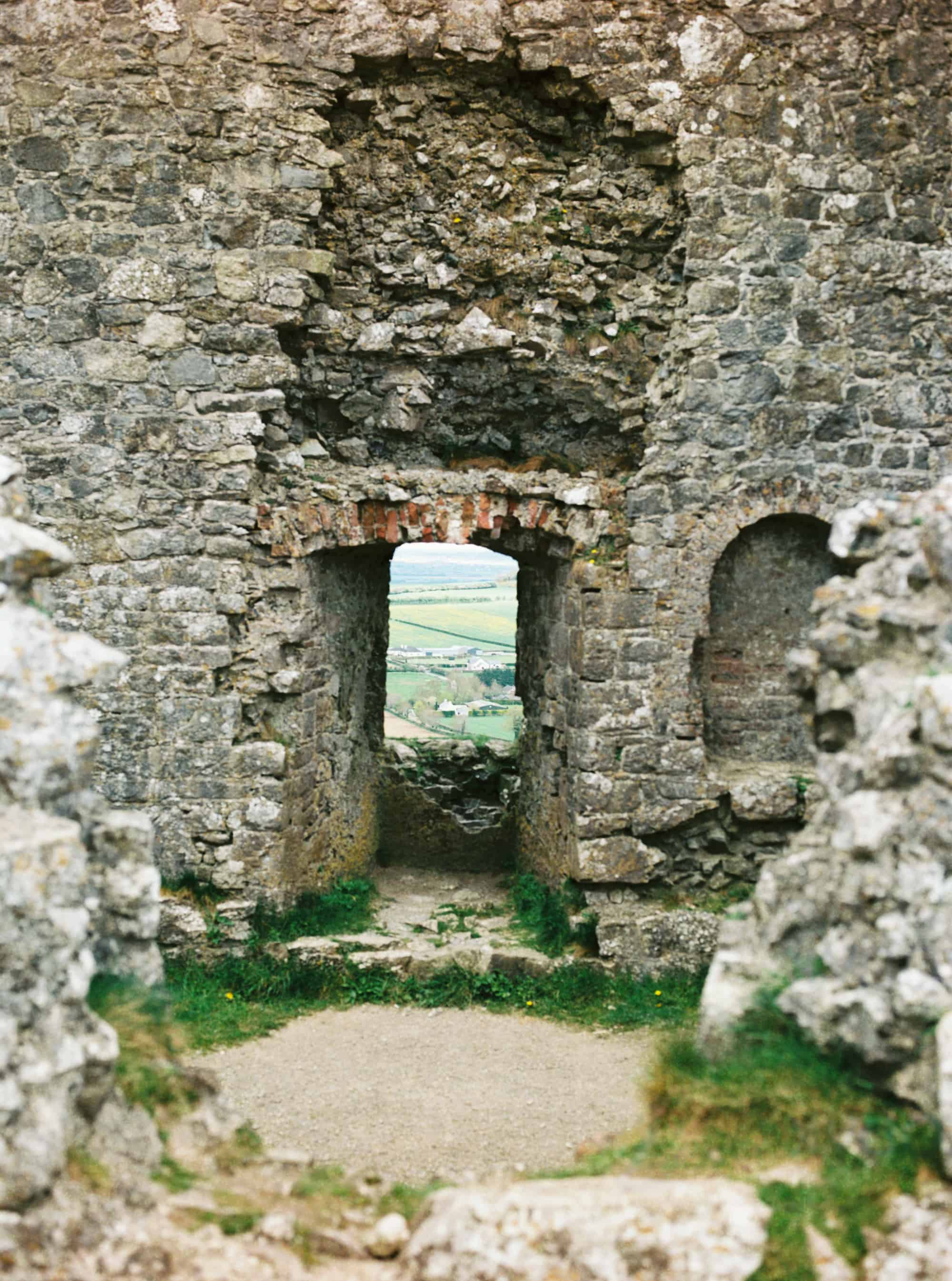 Rock of Dunamase in County Laois, Ireland photographed on film by Kate Lamb of Wild in Love Photo.