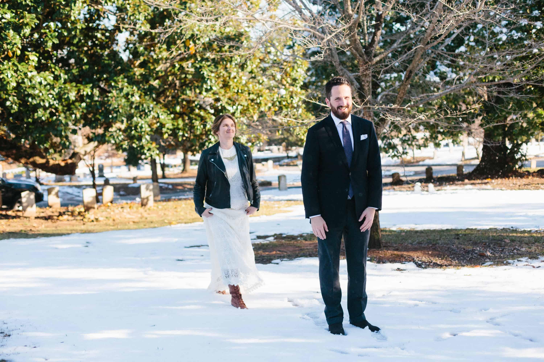 winter oakland cemetery wedding